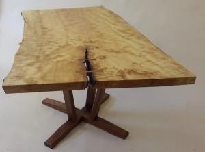 5' Maple slab top on open pedestal