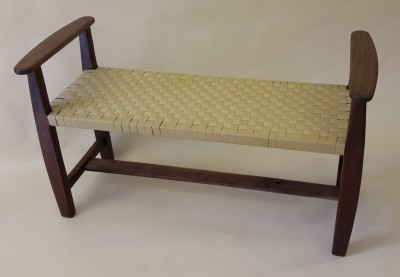 woven bench in walnut