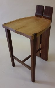 Curly maple seat and walnut leg low back stool